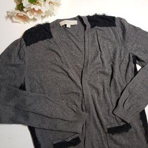 Loft Gray Lace Detail Button Cardigan